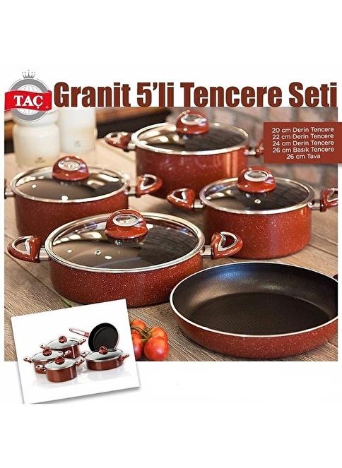 Taç Mutfak TAÇ Granit 5`li Tencere Seti Kırmızı